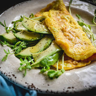 3 Ingredient Avocado And Greens Omelette.