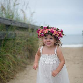 Beach Baby .... by Kellie Jones - Babies & Children Children Candids ( beach baby, white dress, flower crown, running free, almost two,  )
