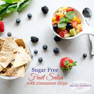 Sugar Free Fruit Salsa with Cinnamon Chips.