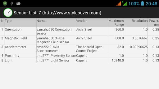 Sensor List-7