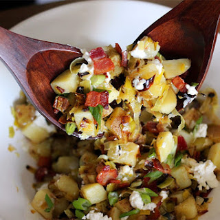Caramelized Leek, Bacon, and Goat Cheese Potato Salad