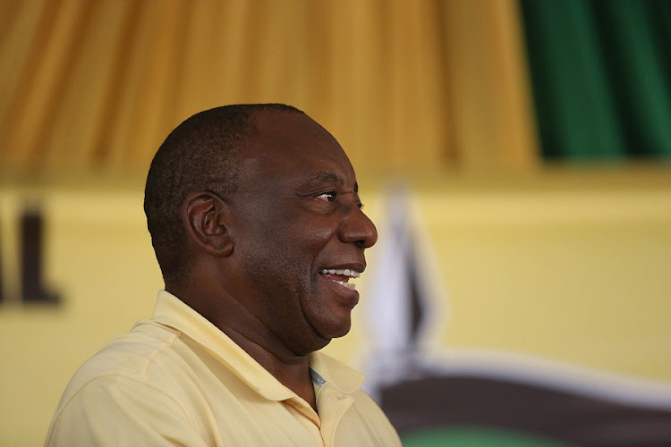 Cyril Ramaphosa at the ANC rally. Picture: THULI DLAMINI