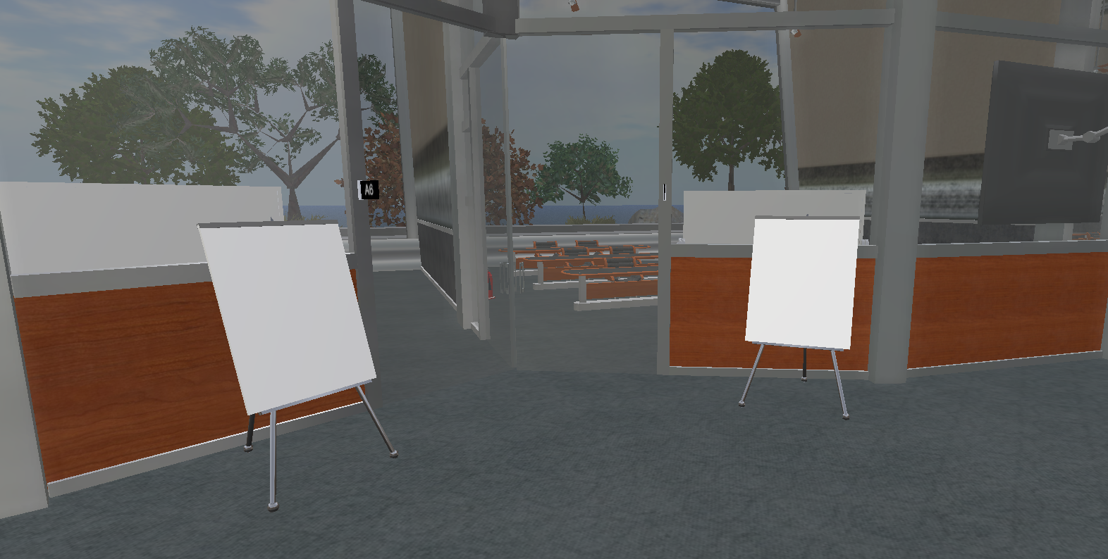 view of 2 virtual classrooms with blank signs outside and trees visible in the background though large glass windows