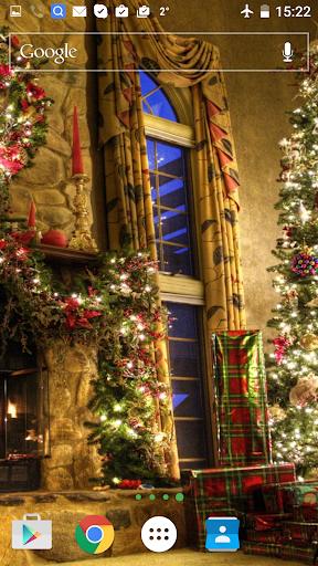 圣诞节的壁炉生活的墙纸