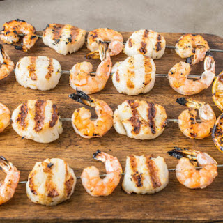 Grilled Shrimp And Scallop Kabobs.
