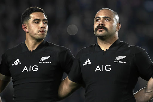 Admiration: Karl Tu'inukuafe, right, and Anton Lienert-Brown before the Test against France on Saturday in Auckland. Picture: GETTY IMAGES