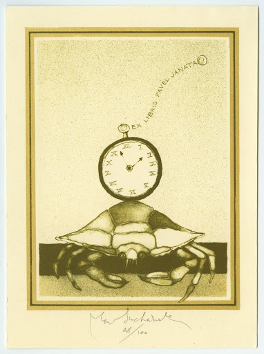 061. Bookplate. PAVEL JANATA. Crab with a watch.
