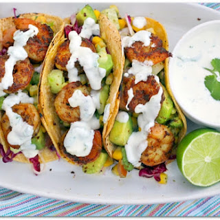 Shrimp Tacos with Cilantro Lime Cream.