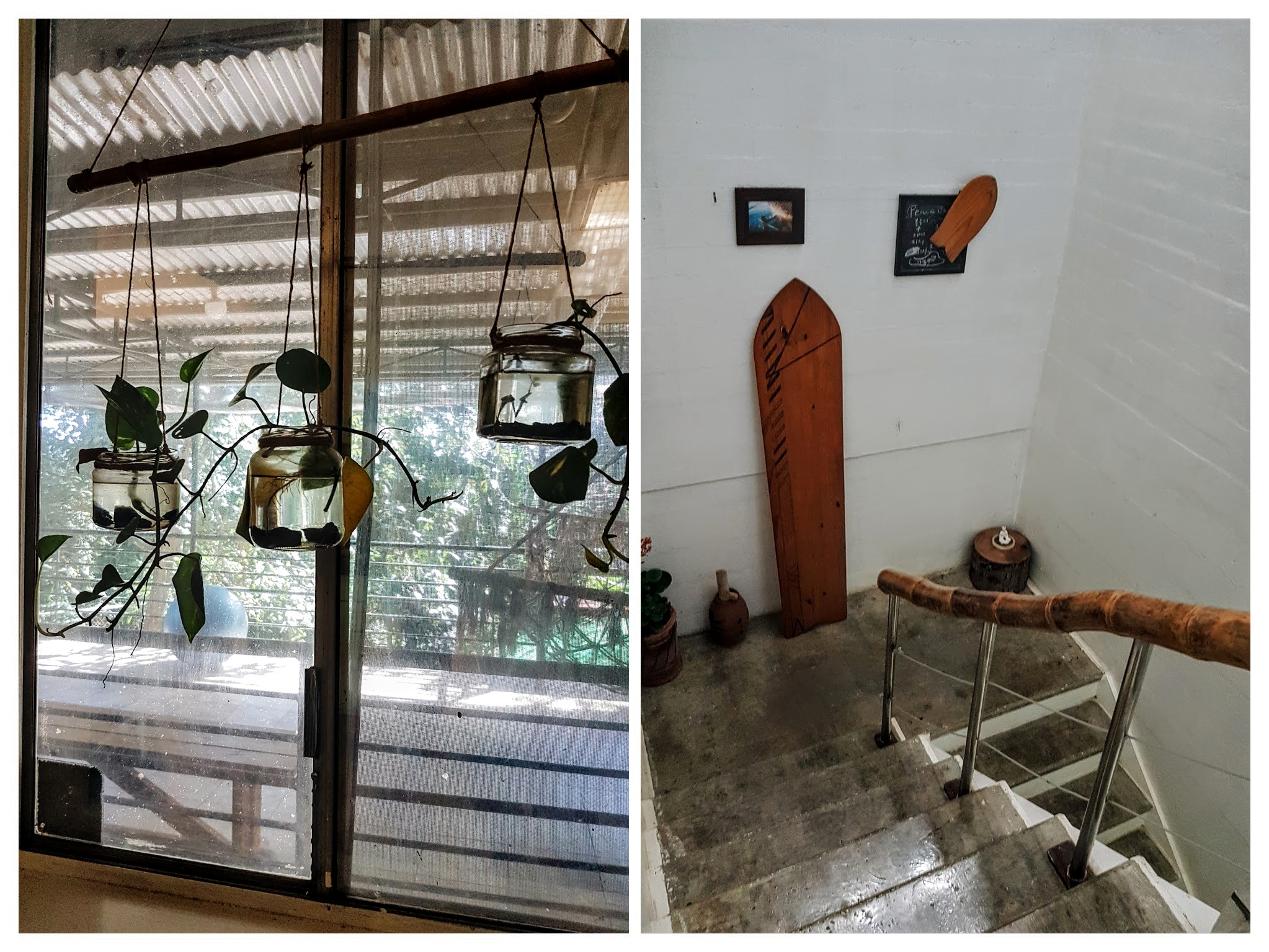 Airbnb Review: Subic Rainforest Retreat - on left: indoor plants and on right: the main door entry leads you upstairs and from here you'll see how high the ceiling is | www.wearejuanderers.com