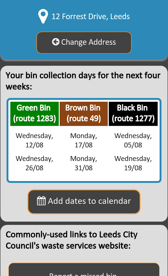 Leeds Bins- screenshot