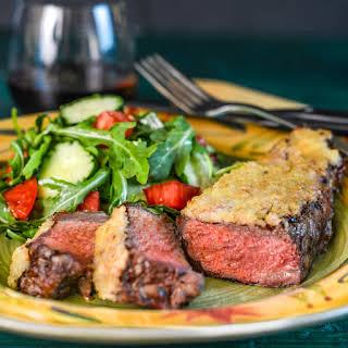 Horseradish-Crusted Strip Steaks.