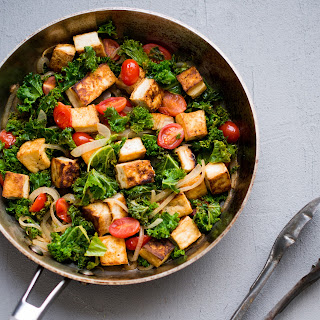 Tofu, Kale & Cherry Tomatoes in White Wine Sauce.