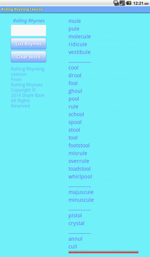Rolling Rhyming Lexicon- screenshot