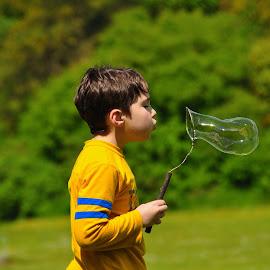 ole school bubbles by S.  Robert - Babies & Children Children Candids ( outdoors, bubbles, blowing bubbles, park )