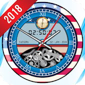 USA Analog Clock Live Wallpaper 2018 Widget Flag