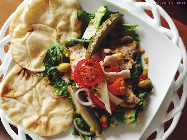 Chicken Salad With Fresh Salad Greens & Warm Naan Recipe