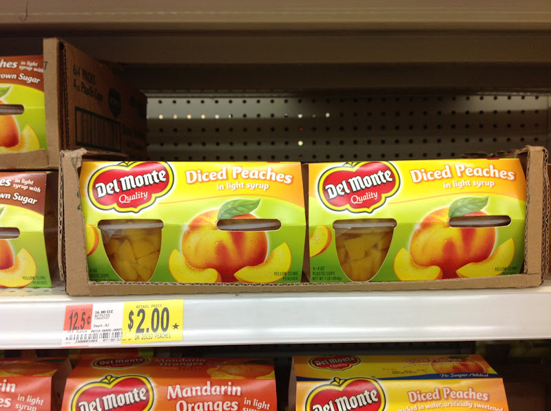Photo: I am going to buy 3 different kinds of Del Monte Fruit Cups. The first package I grabbed was the diced peaches in light syrup for $2.00.