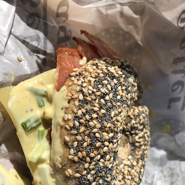 Bacon & egg sandwich on an Everything bagel. Crispy outside and doft inside. Delish!