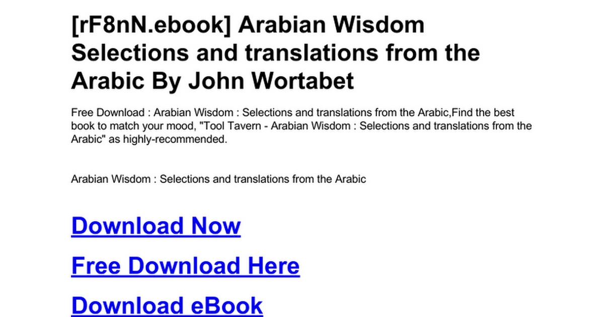 arabian-wisdom-selections-and-translations-from-the-arabic doc