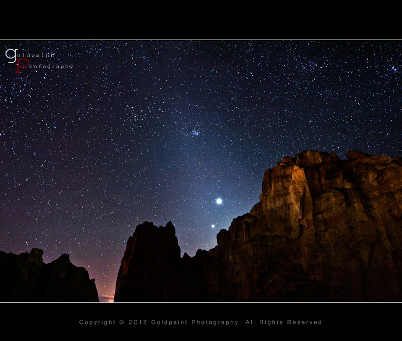 "Photo: Zodiacal Light  Here is a close-up image of the conjunction with Jupiter, Venus, and zodiacal light. #starrynights   You might be asking, ""What is zodiacal light?"" Head on over to my latest post to find out and see more images from this incredible night: http://goldpaintphotography.com/2012/03/22/inconjunctionwith/.  www.goldpaintphotography.com"