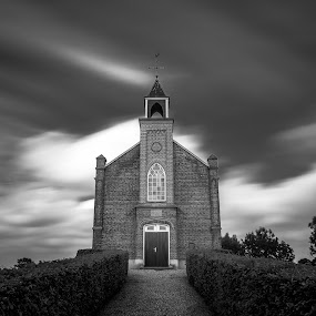 Full frontal BW by Rob Menting - Black & White Buildings & Architecture ( canon, europe, gelderland, church, 70d, grass, green, white, netherlands, canon eos 70d, eos, sky, blue, elst, black )