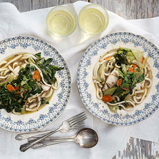 Black Cod Fillets Poached in Five-Spice Broth with Baby Bok Choy and Udon