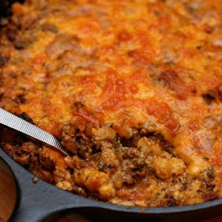 Green Chile Hominy Casserole with Chorizo.
