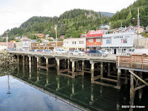 """Photo: You can see how much of the road and buildings are built over the water here in Ketchikan.  No wonder this street is named """"Water St."""""""
