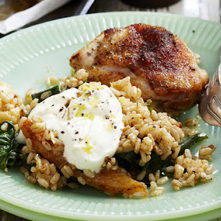 Spiced Chicken with Roasted Cauliflower and Brown Rice Pilaf