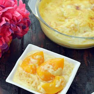 Peach Custard, Eggless Peach Dessert.