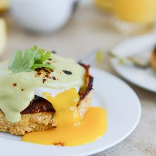 Sweet Corn Cake Eggs Benedict with Avocado Hollandaise