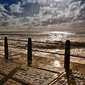 Promenade by Glenn Visser - Landscapes Waterscapes ( winter, promenade, sea, rough )