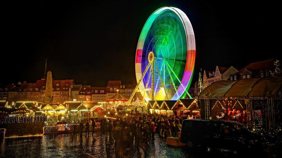 Christmas market Erfurt by Michaela Firešová - City,  Street & Park  Night ( christmas market, night, lights )