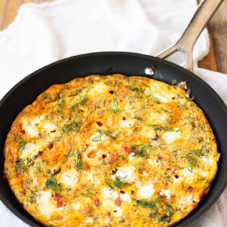 Smoked Salmon and Goat Cheese Frittata with Capers and Dill.