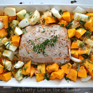 Roasted Pork with Brown Sugar & Rosemary Roasted Butternut Squash & Apples