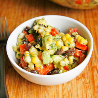 Creamy Black Bean, Red Pepper and Corn Salad with Avocado and Cilantro.