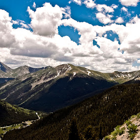 The Road to Aspen by Kimberly Sheppard - Landscapes Mountains & Hills ( clouds, mountains, snow, colorado, trees, aspen )