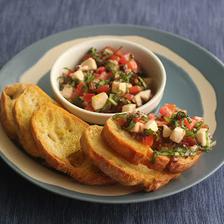Bruschetta with Mozzarella, Tomatoes and Olives