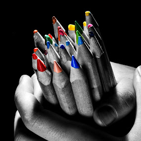 Pencil by Tiberiu Stefan  Simion - Abstract Macro ( pencil, orange, red, blue, color, green, white, yellow, blueberries, black )