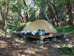 Photo: Campsite at the Copeland Island Marine Park.