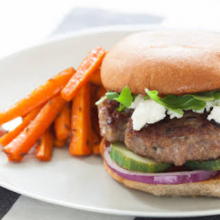 Harissa Lamb & Beef Burgers with Roasted Carrot Fries.