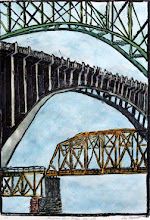 """Photo: """"Bridges on the Tennessee River - Knoxville"""" linoleum block print, hand colored, 18""""x24"""""""
