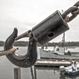 Industrial Hook by Richard Michael Lingo - Artistic Objects Industrial Objects ( artistic objects, maine, hook, industrial objects, rope )