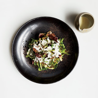 Spring Greens Salad with Warm Crème Fraîche and Black Cocoa