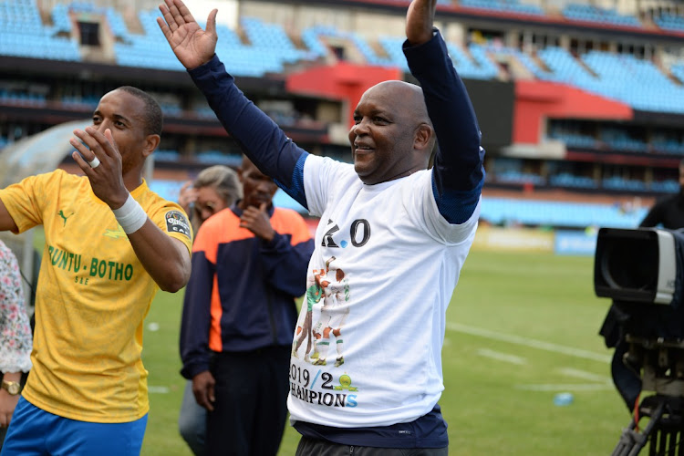 Tiyani Mabunda and Mamelodi Sundowns coach Pitso Mosimane celebrate in Pretoria, January 11 2020. Picture: LEFTY SHIVAMBU/GALLO IMAGES