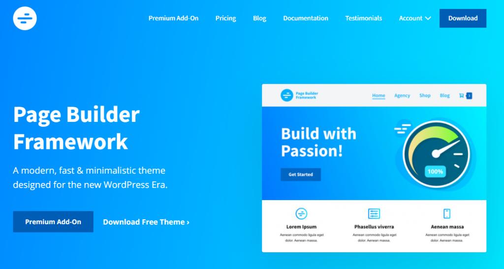 Screenshot do tema Page Builder Framework