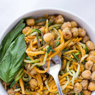Sweet Potato and Zucchini Noodles with Pesto and Chickpeas.