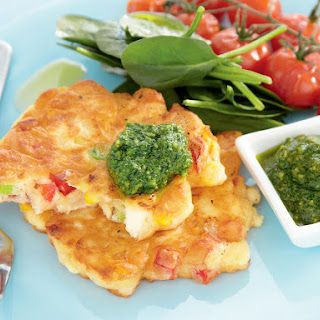 Corn and Feta Fritters with Pesto and Roasted Tomatoes.