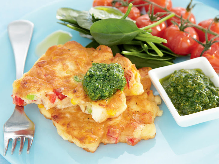 Corn and Feta Fritters with Pesto and Roasted Tomatoes Recipe