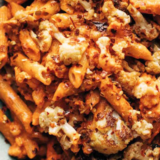 Red Pepper Cashew Pasta with Roasted Cauliflower.
